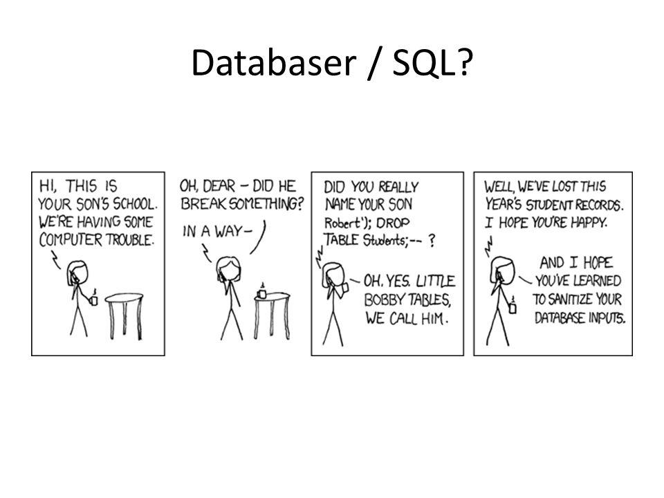 Databaser / SQL?