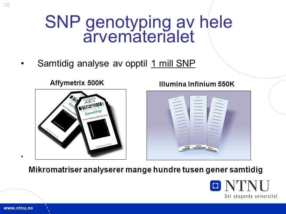 18 Samtidig analyse av opptil 1 mill SNP. SNP genotyping av hele arvematerialet Affymetrix 500K Illumina Infinium 550K Mikromatriser analyserer mange