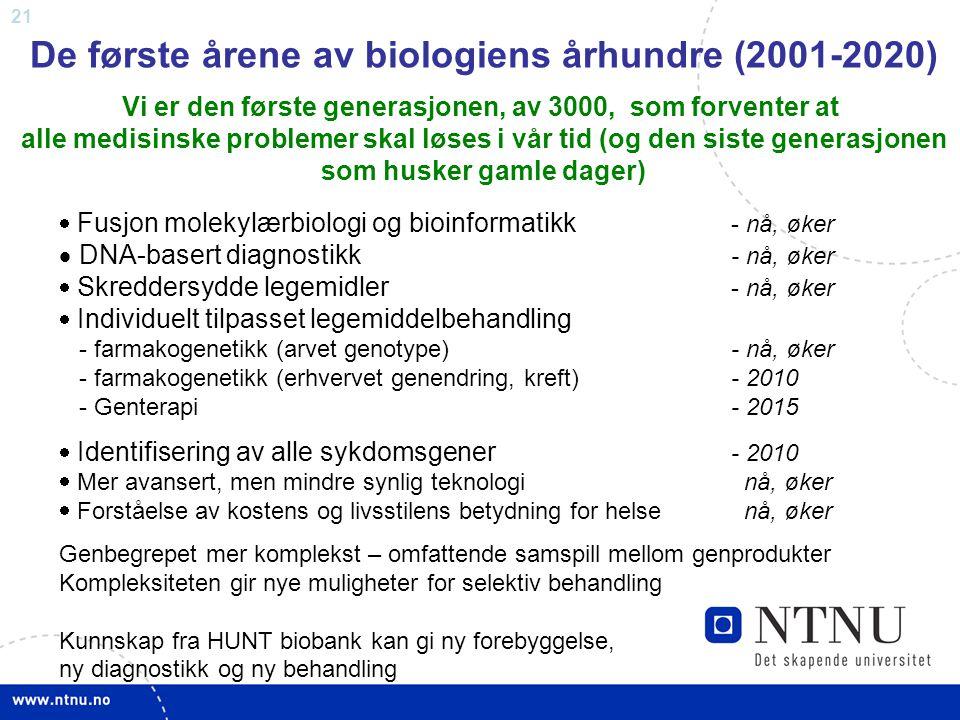 21 De første årene av biologiens århundre (2001-2020) Vi er den første generasjonen, av 3000, som forventer at alle medisinske problemer skal løses i