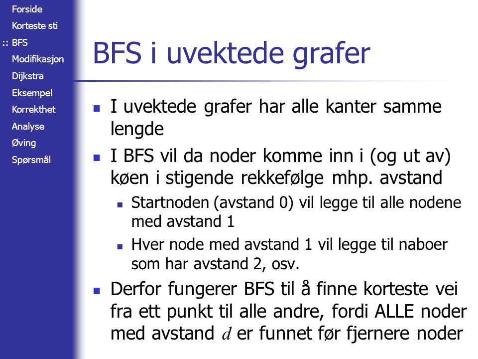 Forside Korteste sti BFS Modifikasjon Dijkstra Eksempel Korrekthet Analyse Øving Spørsmål A B C D E F 2 4 1 2 8 3 2 5 1 Korteste sti-tre :: I forrige eksempel lå alle nodene etter hverandre på den korteste stien Som regel vil man heller få et tre av korteste stier Et eksempel vises til høyre (grafen har andre vekter enn i sted) Merk at vi nå også har funnet korteste stier mellom alle noder i samme gren (B ~> E, B ~> F, E ~> F, B ~> C, B ~> D og C ~> D), men ikke mellom noder i forskjellige greiner (f.eks.