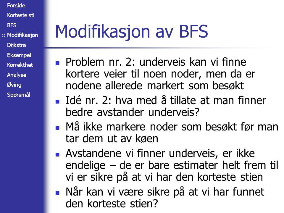 Forside Korteste sti BFS Modifikasjon Dijkstra Eksempel Korrekthet Analyse Øving Spørsmål Analyse Konstruksjon av Q med |V| elementer (3) While-løkka kjøres |V| ganger Ett uttak fra Q hver gang (5) For-løkka kjøres totalt |E| ganger (7) I verste fall én oppdatering i Q hver gang (8) 1I NITIALIZE -S INGLE -S OURCE (G, s) 2S   3Q  V[G] 4while Q   5dou  E XTRACT - MIN (Q) 6S  S  {u} 7for each vertex v  Adj[u] 8do R ELAX (u, v, w) ::