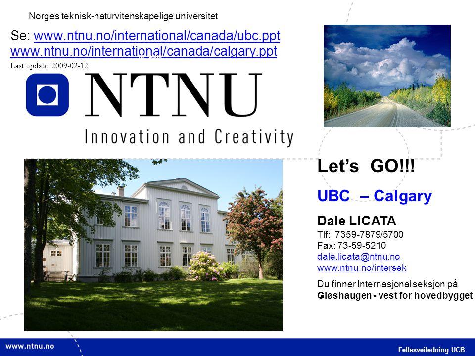 1 Fellesveiledning UCB Norges teknisk-naturvitenskapelige universitet Let's GO!!! UBC – Calgary Dale LICATA Tlf: 7359-7879/5700 Fax: 73-59-5210 dale.l