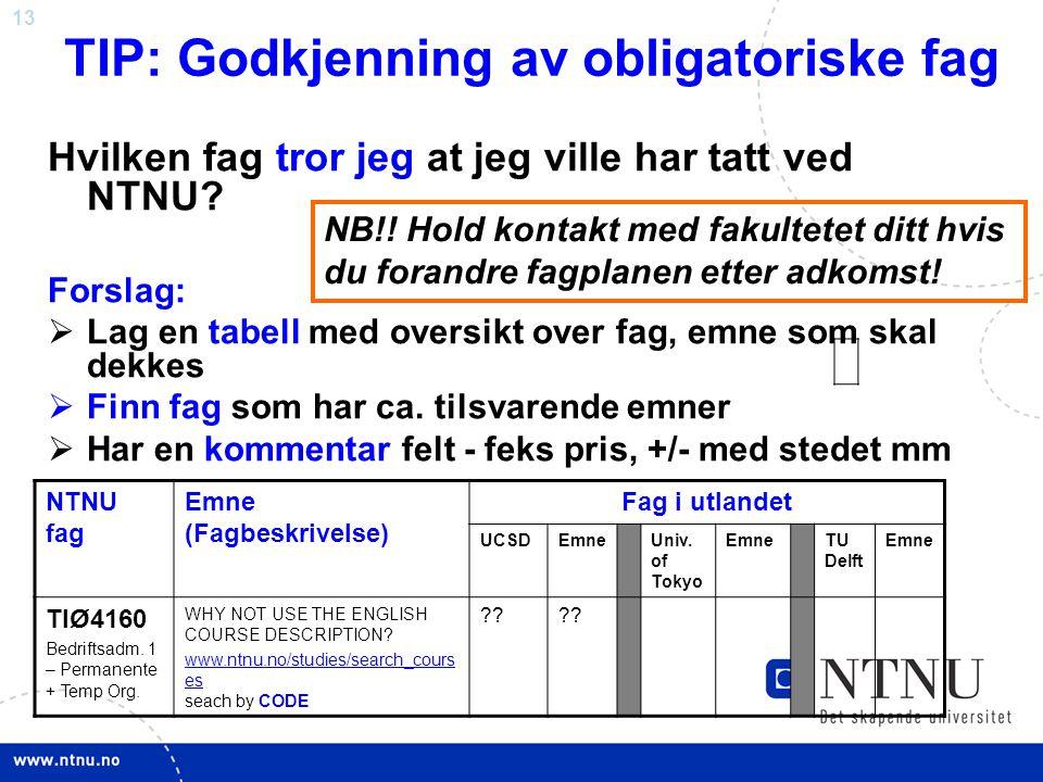 13 TIP: Godkjenning av obligatoriske fag Hvilken fag tror jeg at jeg ville har tatt ved NTNU? Forslag:  Lag en tabell med oversikt over fag, emne som