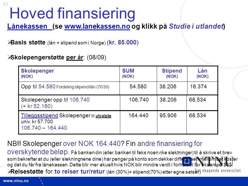 21 Hoved finansiering Lånekassen Lånekassen (se www.lanekassen.no og klikk på Studie i utlandet)www.lanekassen.no  Basis støtte (lån + stipend som i