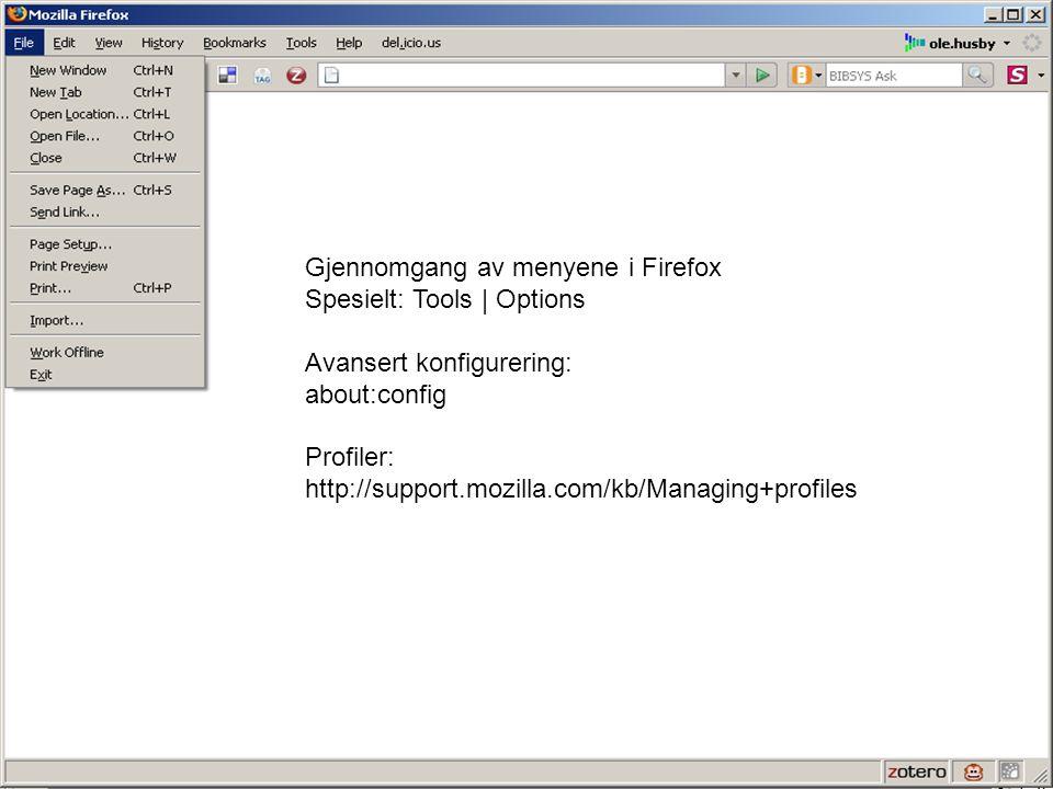 Gjennomgang av menyene i Firefox Spesielt: Tools | Options Avansert konfigurering: about:config Profiler: http://support.mozilla.com/kb/Managing+profi