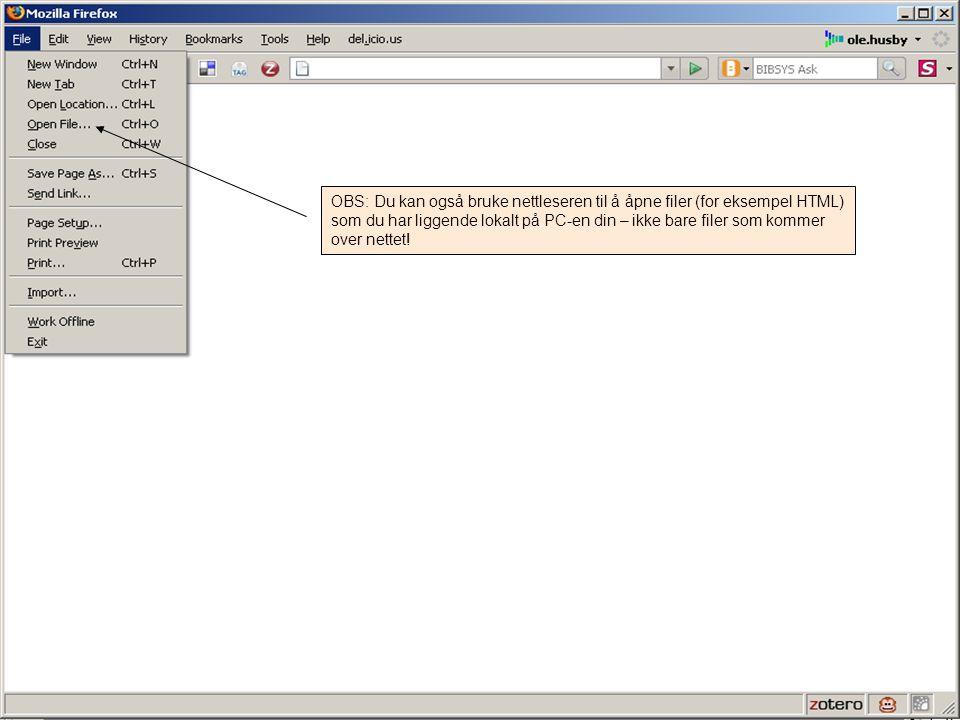 OBS: Du kan også bruke nettleseren til å åpne filer (for eksempel HTML) som du har liggende lokalt på PC-en din – ikke bare filer som kommer over nettet!