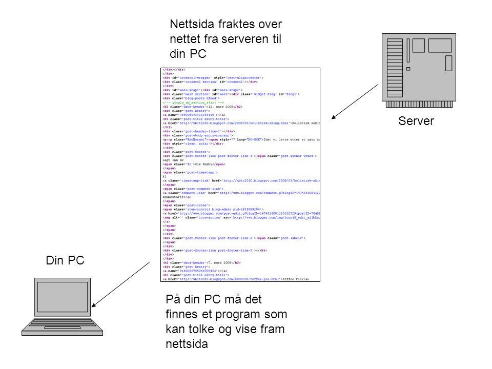 Server Din PC Nettsida fraktes over nettet fra serveren til din PC På din PC må det finnes et program som kan tolke og vise fram nettsida