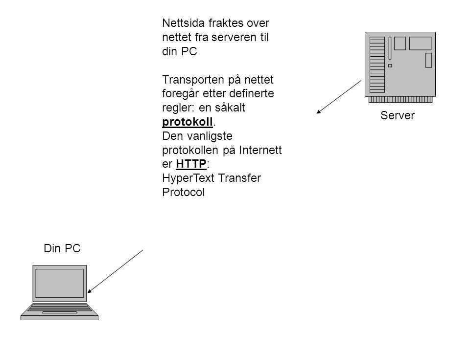Server Din PC Nettsida fraktes over nettet fra serveren til din PC Transporten på nettet foregår etter definerte regler: en såkalt protokoll.