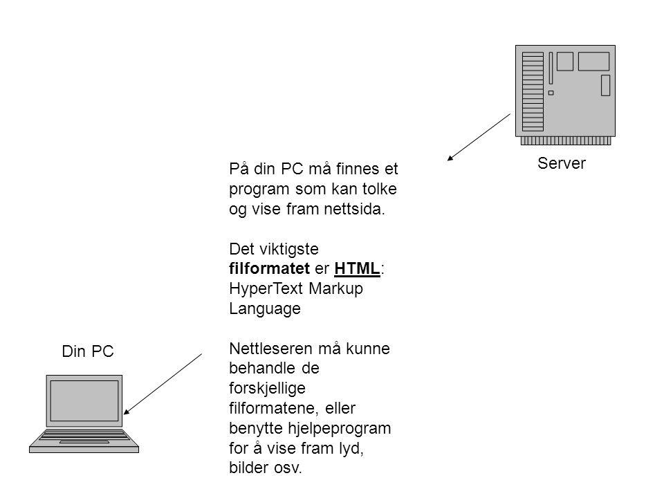 Server Din PC På din PC må finnes et program som kan tolke og vise fram nettsida.