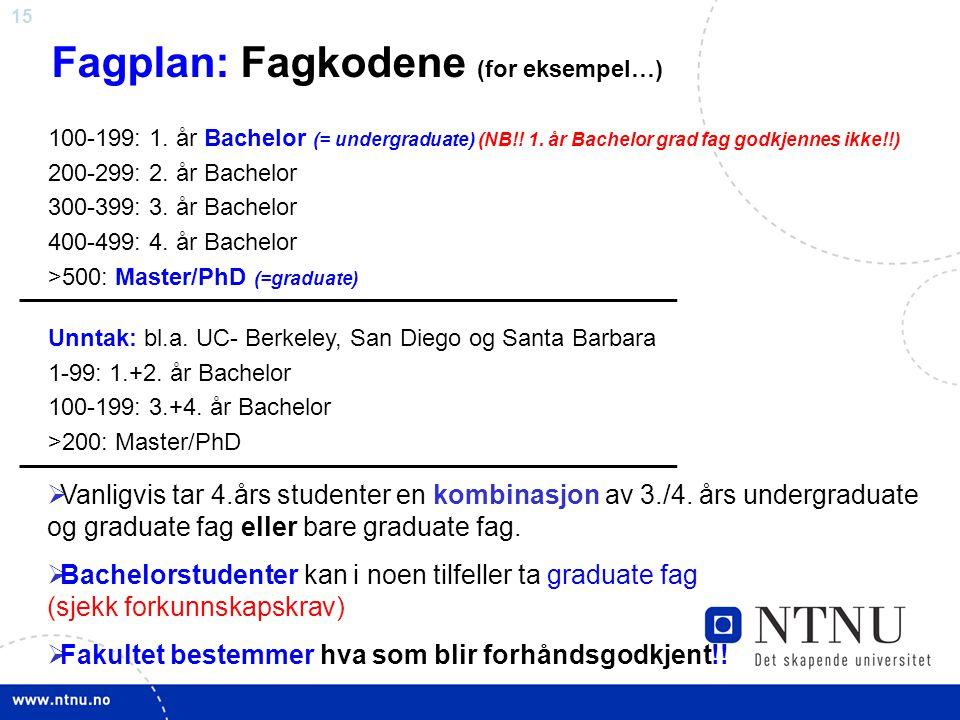 15 Fagplan: Fagkodene (for eksempel…)  Vanligvis tar 4.års studenter en kombinasjon av 3./4. års undergraduate og graduate fag eller bare graduate fa