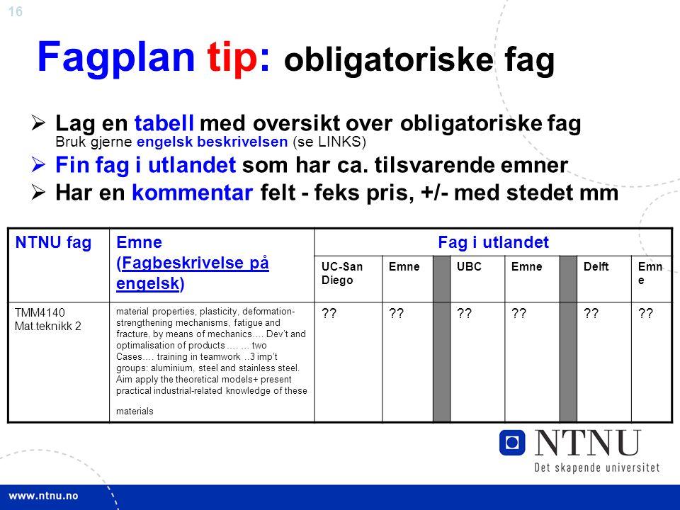 16 Fagplan tip: obligatoriske fag  Lag en tabell med oversikt over obligatoriske fag Bruk gjerne engelsk beskrivelsen (se LINKS)  Fin fag i utlandet