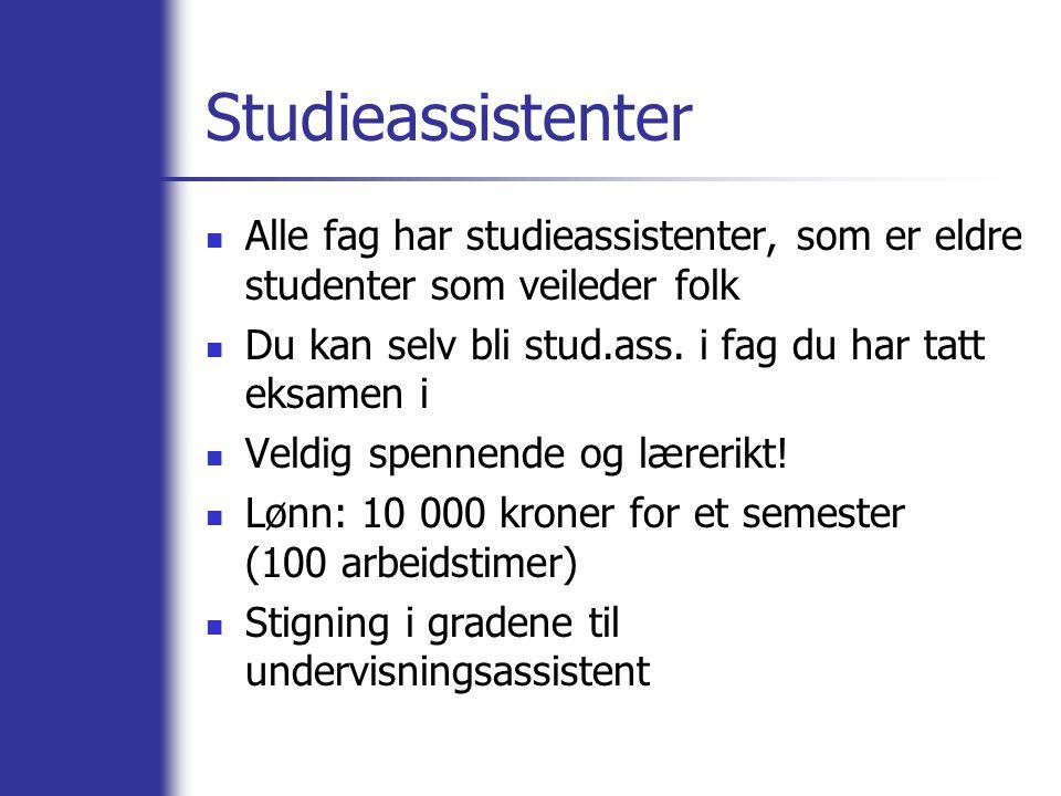 Studieassistenter Alle fag har studieassistenter, som er eldre studenter som veileder folk Du kan selv bli stud.ass.