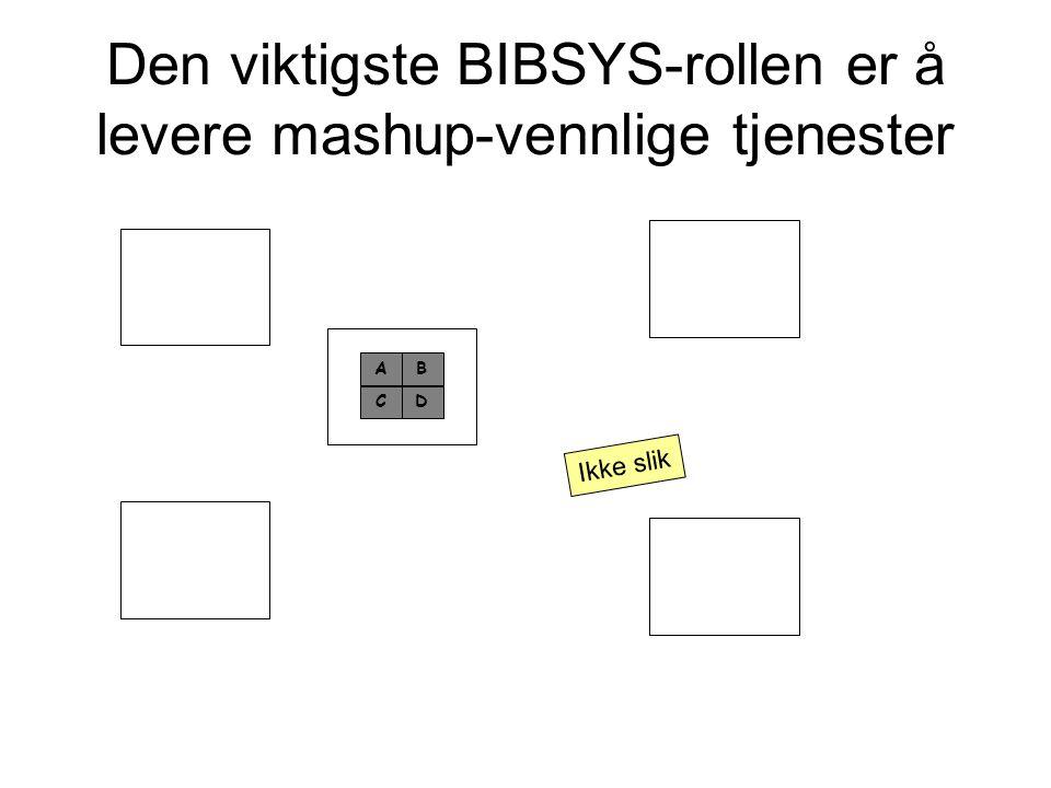 Den viktigste BIBSYS-rollen er å levere mashup-vennlige tjenester A CD B Ikke slik