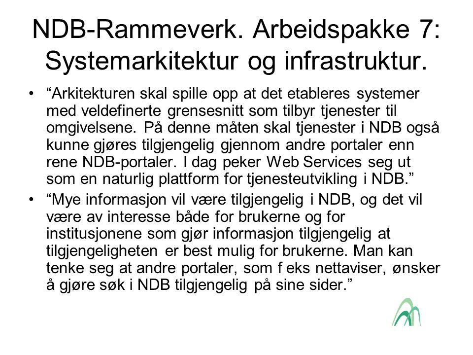 NDB-Rammeverk. Arbeidspakke 7: Systemarkitektur og infrastruktur.