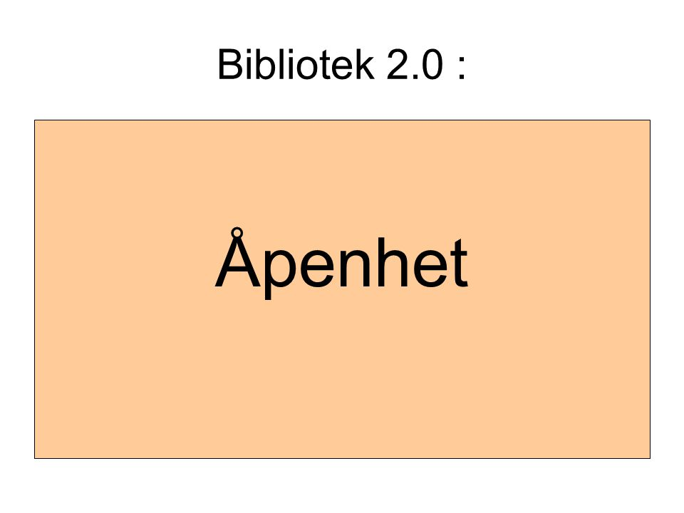 Bibliotek 2.0 : Åpenhet