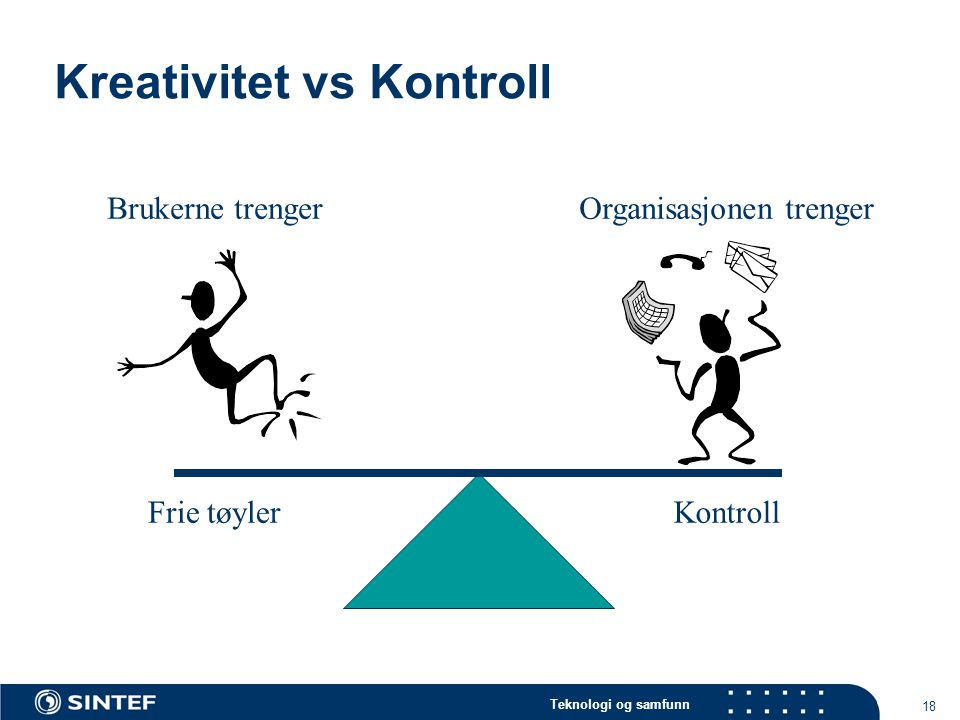 Teknologi og samfunn 18 Kreativitet vs Kontroll Brukerne trenger Frie tøyler Organisasjonen trenger Kontroll