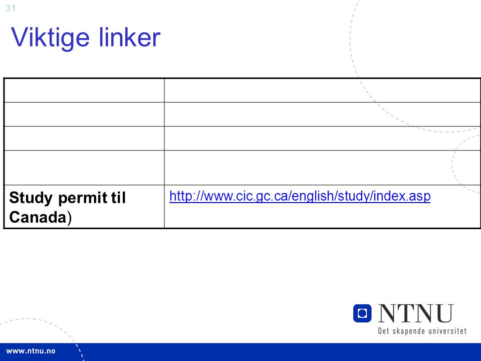 31 Viktige linker Study permit til Canada) http://www.cic.gc.ca/english/study/index.asp