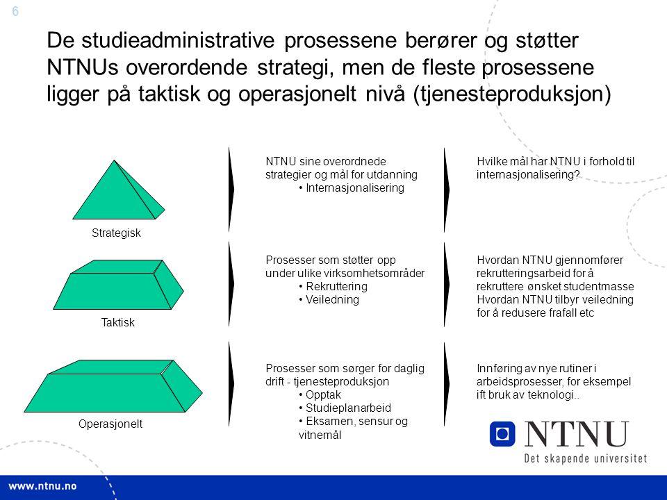 6 De studieadministrative prosessene berører og støtter NTNUs overordende strategi, men de fleste prosessene ligger på taktisk og operasjonelt nivå (t