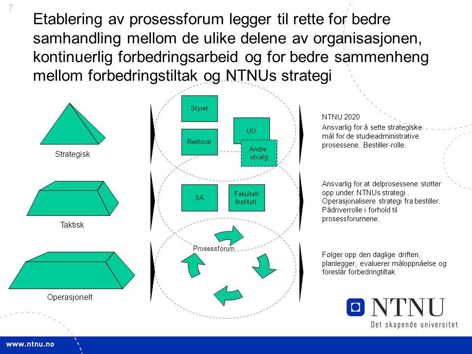 7 Etablering av prosessforum legger til rette for bedre samhandling mellom de ulike delene av organisasjonen, kontinuerlig forbedringsarbeid og for be