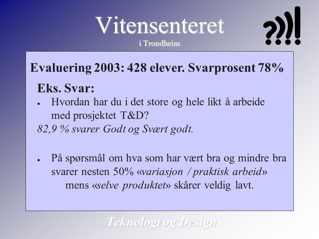 Vitensenteret i Trondheim Teknologi og Design Evaluering 2003: 428 elever. Svarprosent 78% Eks. Svar: ● Hvordan har du i det store og hele likt å arbe