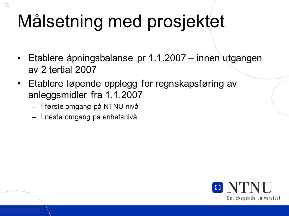 10 Målsetning med prosjektet Etablere åpningsbalanse pr 1.1.2007 – innen utgangen av 2 tertial 2007 Etablere løpende opplegg for regnskapsføring av an