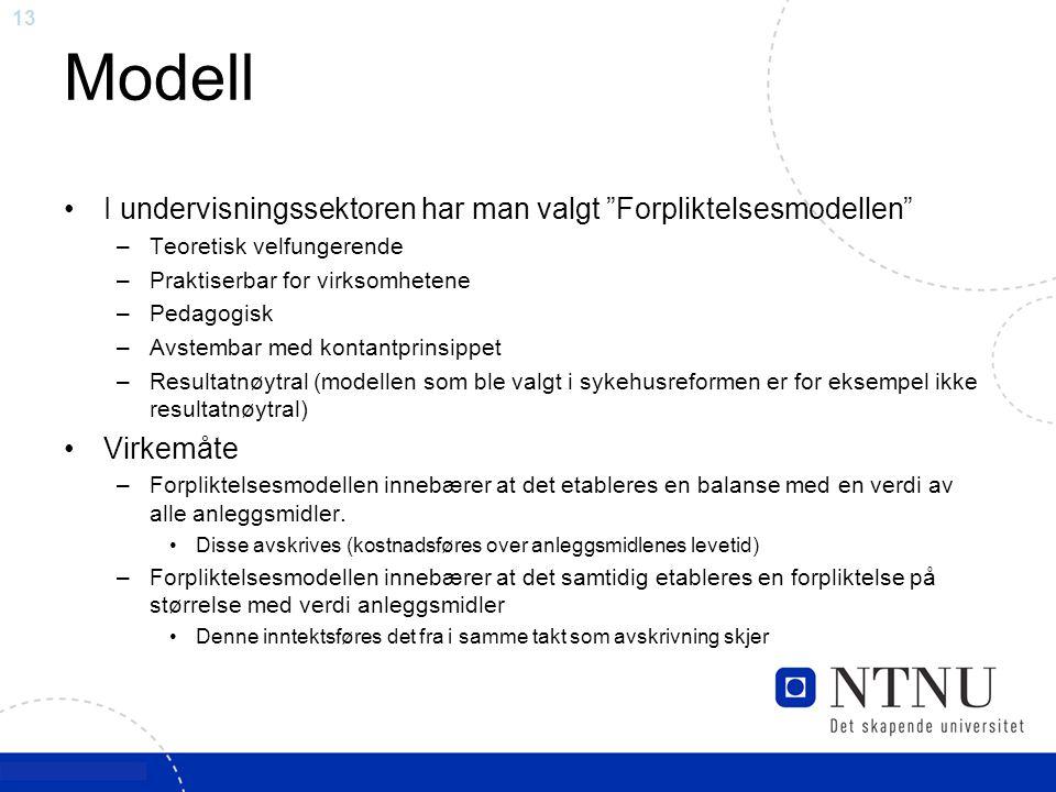 """13 Modell I undervisningssektoren har man valgt """"Forpliktelsesmodellen"""" –Teoretisk velfungerende –Praktiserbar for virksomhetene –Pedagogisk –Avstemba"""