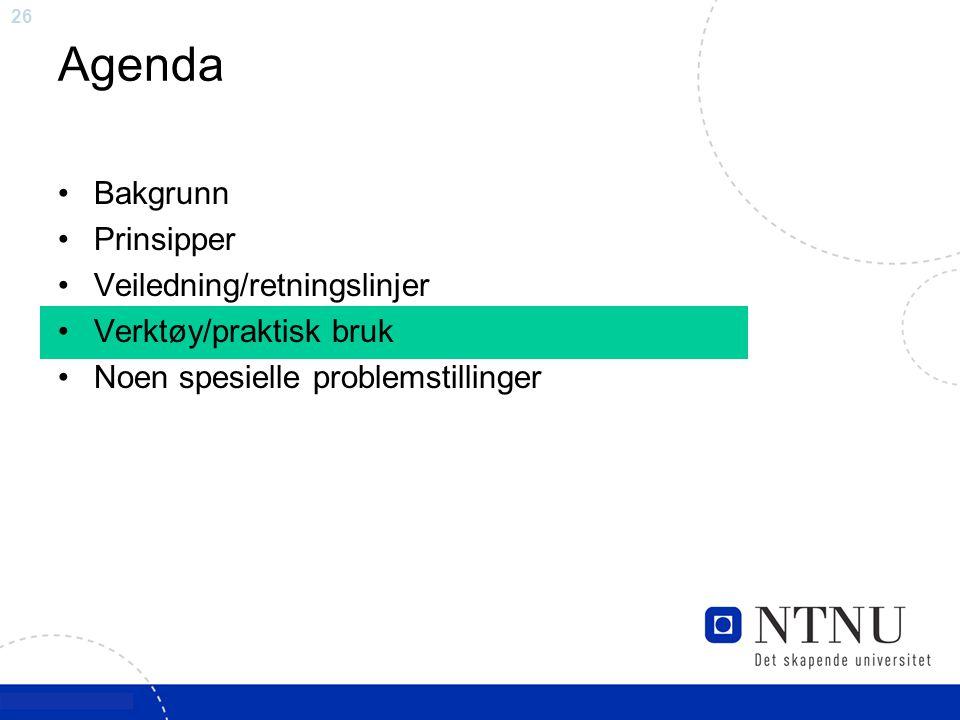 26 Agenda Bakgrunn Prinsipper Veiledning/retningslinjer Verktøy/praktisk bruk Noen spesielle problemstillinger