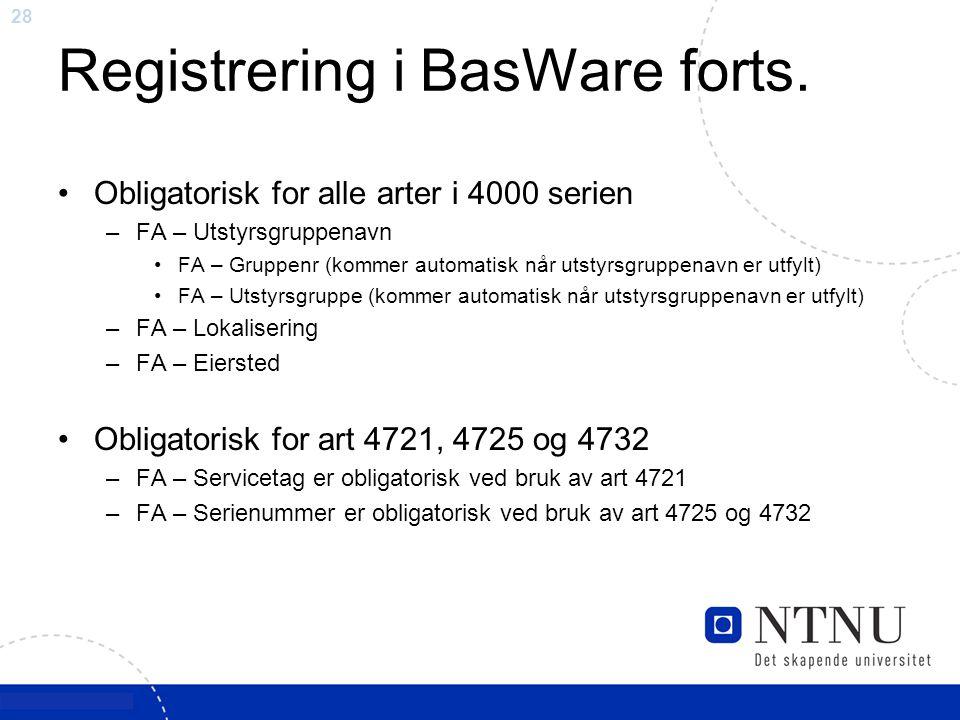 28 Registrering i BasWare forts. Obligatorisk for alle arter i 4000 serien –FA – Utstyrsgruppenavn FA – Gruppenr (kommer automatisk når utstyrsgruppen