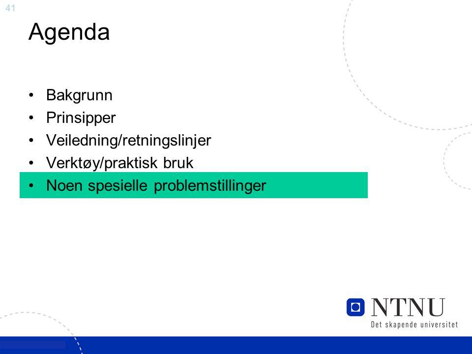 41 Agenda Bakgrunn Prinsipper Veiledning/retningslinjer Verktøy/praktisk bruk Noen spesielle problemstillinger
