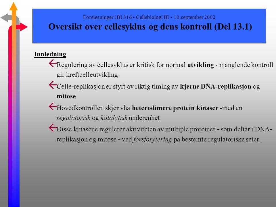 Forelesninger i BI 316 - Cellebiologi III - 10.september 2002 Emner som gjennomgåes i dette kapittelet ß Genetiske studier av gjærceller (kun overflad