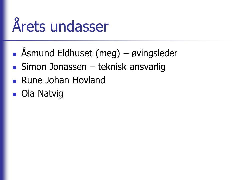 Årets undasser Åsmund Eldhuset (meg) – øvingsleder Simon Jonassen – teknisk ansvarlig Rune Johan Hovland Ola Natvig
