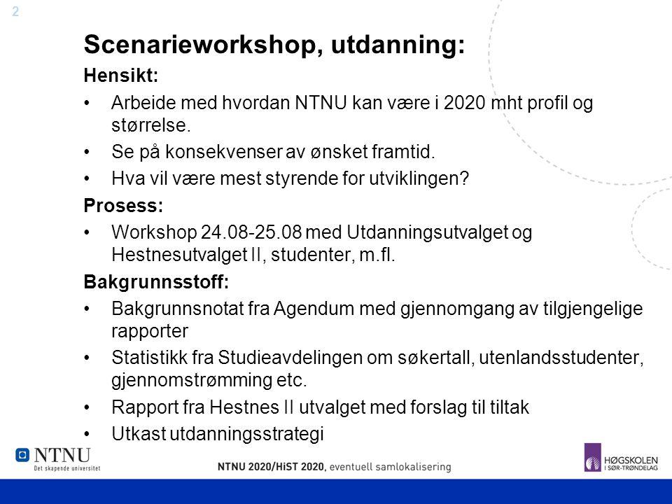3 Faktorer og Aktører UoH institusjoner i Norge og andre land Demografi Trender i etterspørsel Livslang læring Behov i næringsliv og offentlige virksomheter Overnasjonal politikk Flernasjonale markeder Arbeidsliv Studenter KonkurrenterInternasjonalt NTNU
