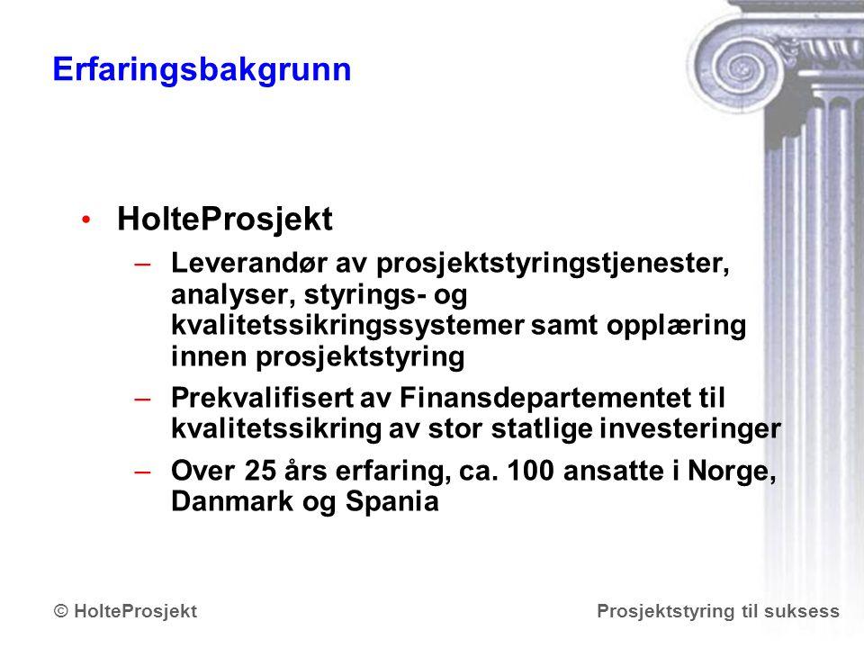 www.holteprosjekt.no Prosjektstyring til suksess© HolteProsjekt Riktig prosjekt –riktig pris.