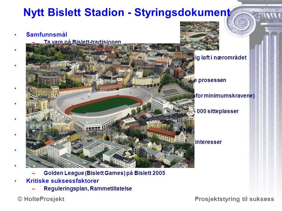 www.holteprosjekt.no Prosjektstyring til suksess© HolteProsjekt Nytt Bislett Stadion - Styringsdokument Samfunnsmål – –Ta vare på Bislett-tradisjonen