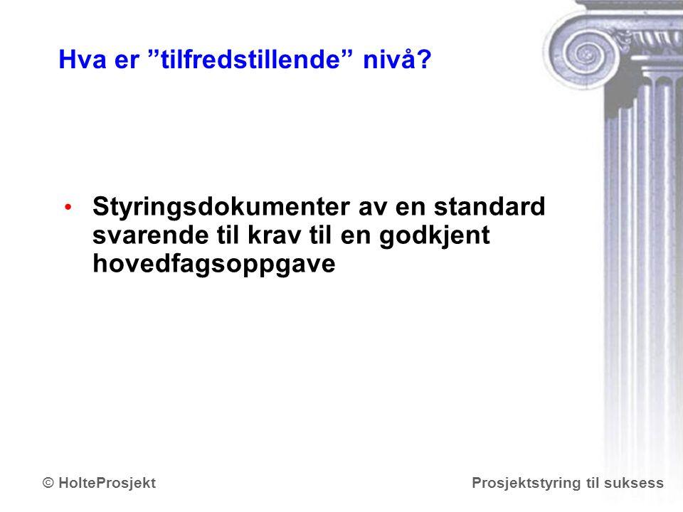 """www.holteprosjekt.no Prosjektstyring til suksess© HolteProsjekt Hva er """"tilfredstillende"""" nivå? Styringsdokumenter av en standard svarende til krav ti"""
