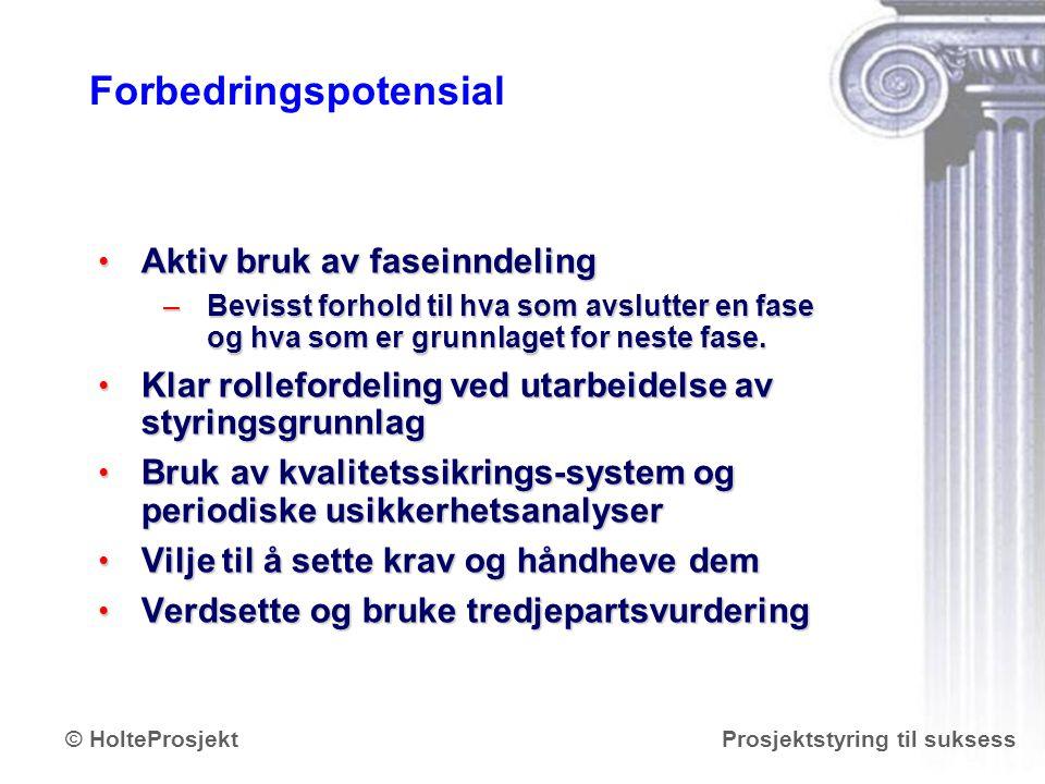 www.holteprosjekt.no Prosjektstyring til suksess© HolteProsjekt Forbedringspotensial Aktiv bruk av faseinndeling Aktiv bruk av faseinndeling –Bevisst