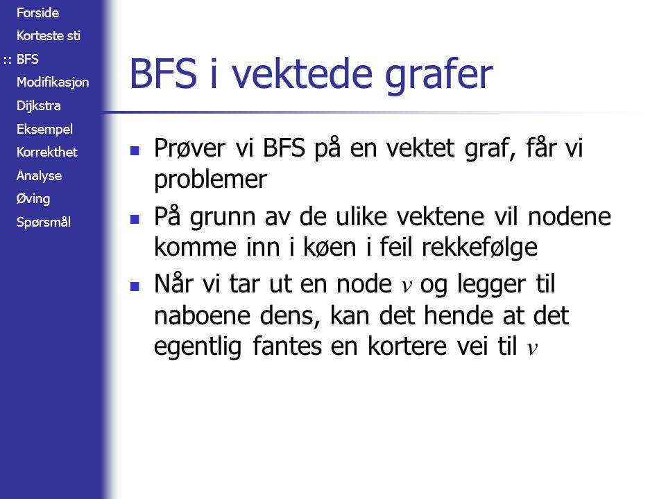 Forside Korteste sti BFS Modifikasjon Dijkstra Eksempel Korrekthet Analyse Øving Spørsmål BFS i vektede grafer Kø: A (0) A B C D E F 2 4 1 7 3 3 5 1 1 Kø: A (0), B (2), C (4) A B C D E F 2 4 1 7 3 3 5 1 1 ::