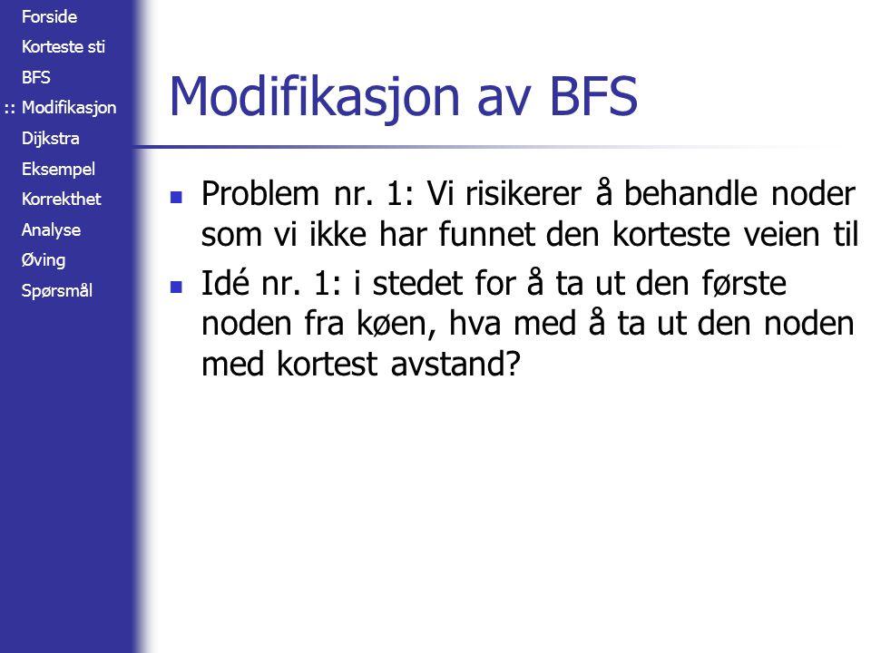 Forside Korteste sti BFS Modifikasjon Dijkstra Eksempel Korrekthet Analyse Øving Spørsmål Modifikasjon av BFS Problem nr. 1: Vi risikerer å behandle n