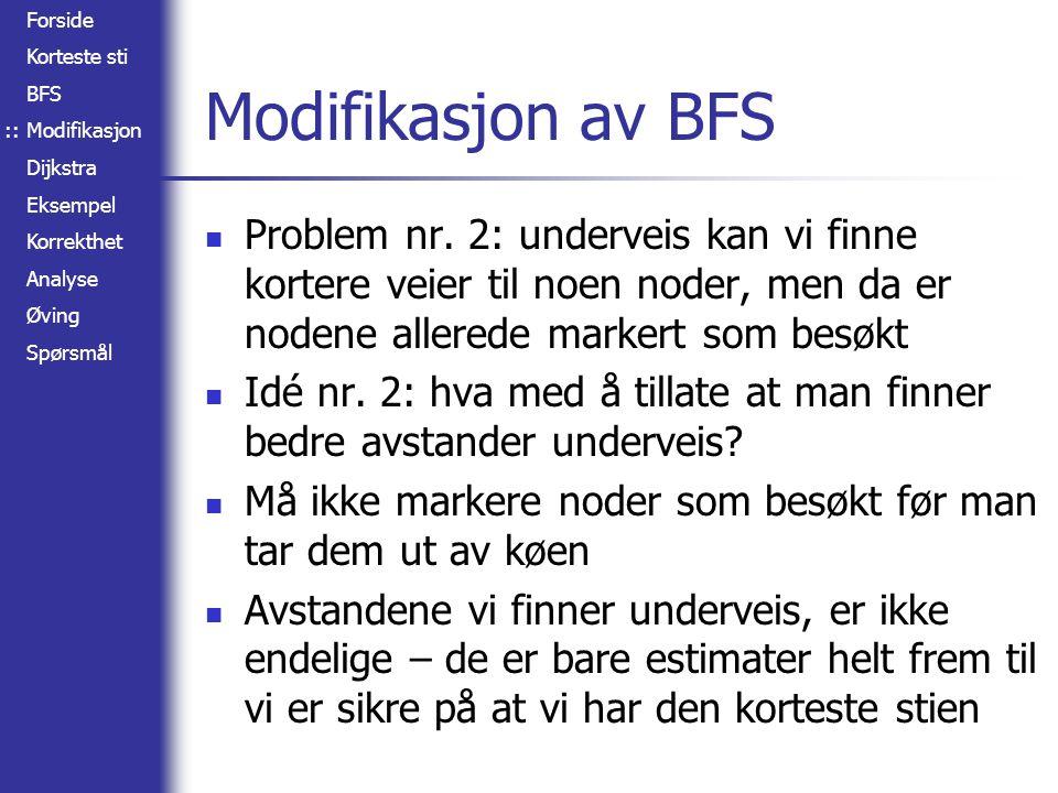 Forside Korteste sti BFS Modifikasjon Dijkstra Eksempel Korrekthet Analyse Øving Spørsmål A B C D E F 2 4 1 7 3 3 5 1 1 Eksempel :: Nodeavstander A: 0 (-) B: 2 (A) C: 3 (B) D: 6 (C) E: 9 (B)
