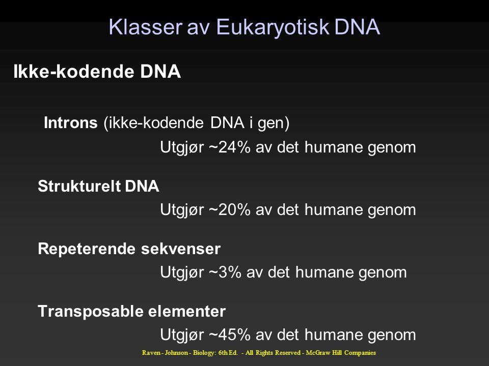 Raven - Johnson - Biology: 6th Ed. - All Rights Reserved - McGraw Hill Companies Klasser av Eukaryotisk DNA Ikke-kodende DNA Introns (ikke-kodende DNA