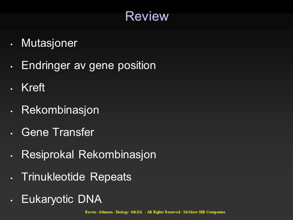 Raven - Johnson - Biology: 6th Ed. - All Rights Reserved - McGraw Hill Companies Review Mutasjoner Endringer av gene position Kreft Rekombinasjon Gene