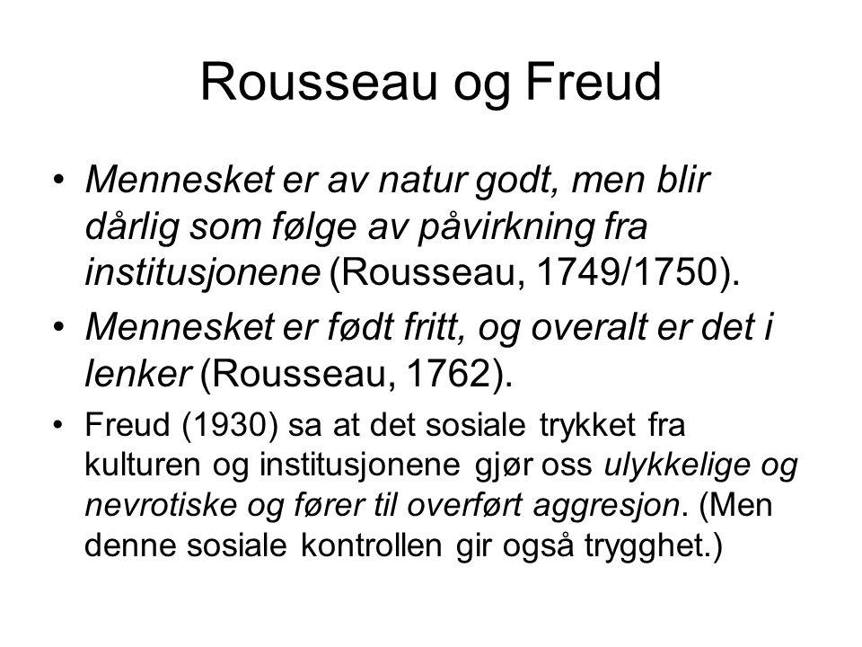 Rousseau og Freud Mennesket er av natur godt, men blir dårlig som følge av påvirkning fra institusjonene (Rousseau, 1749/1750). Mennesket er født frit