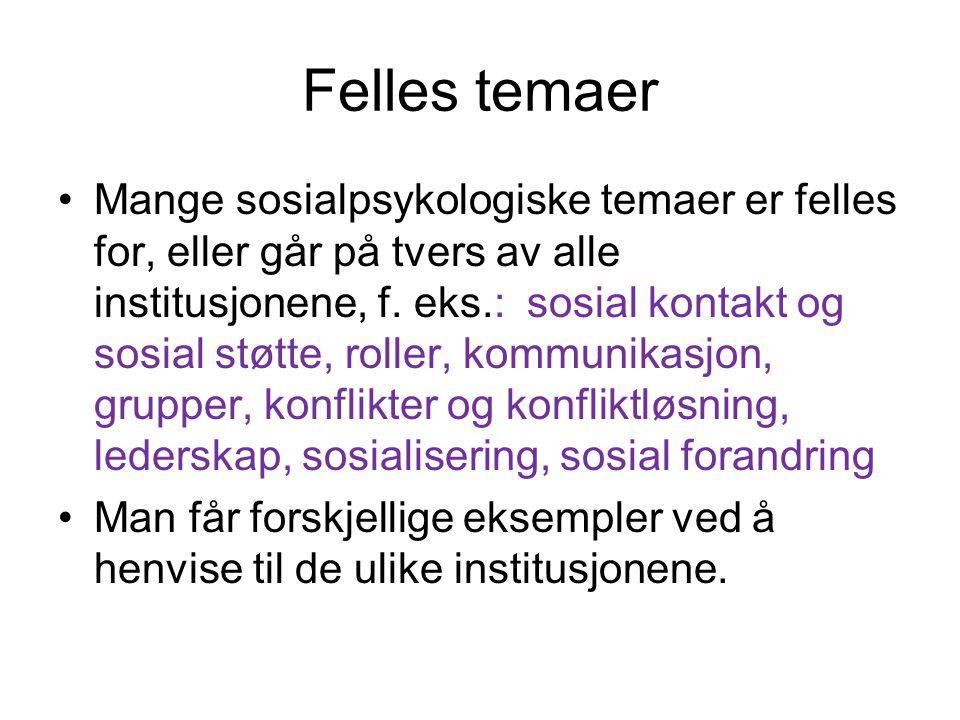 Felles temaer Mange sosialpsykologiske temaer er felles for, eller går på tvers av alle institusjonene, f.