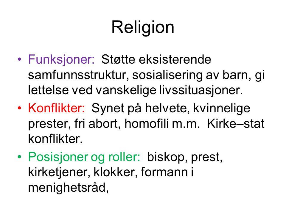 Religion Funksjoner: Støtte eksisterende samfunnsstruktur, sosialisering av barn, gi lettelse ved vanskelige livssituasjoner. Konflikter: Synet på hel