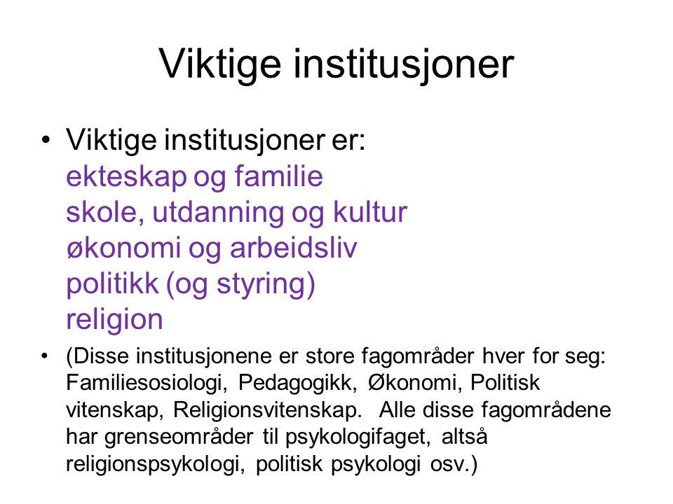 Viktige institusjoner Viktige institusjoner er: ekteskap og familie skole, utdanning og kultur økonomi og arbeidsliv politikk (og styring) religion (D