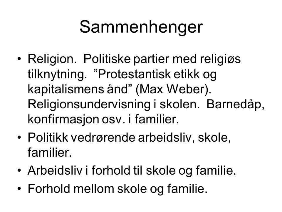 """Sammenhenger Religion. Politiske partier med religiøs tilknytning. """"Protestantisk etikk og kapitalismens ånd"""" (Max Weber). Religionsundervisning i sko"""