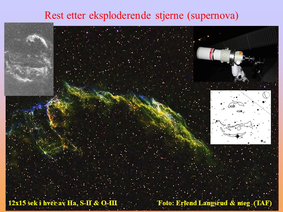 Rest etter eksploderende stjerne (supernova) Foto: Erlend Langsrud & meg (TAF)12x15 sek i hver av Ha, S-II & O-III