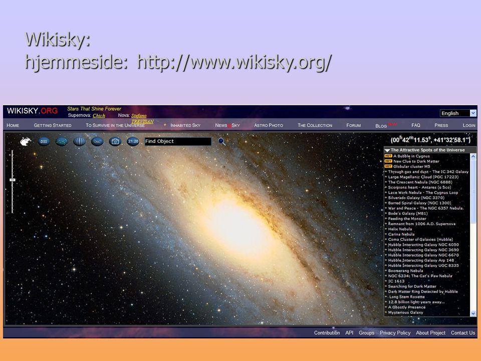 Wikisky: hjemmeside: http://www.wikisky.org/