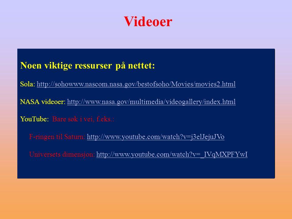 Videoer Noen viktige ressurser på nettet: Sola: http://sohowww.nascom.nasa.gov/bestofsoho/Movies/movies2.htmlhttp://sohowww.nascom.nasa.gov/bestofsoho