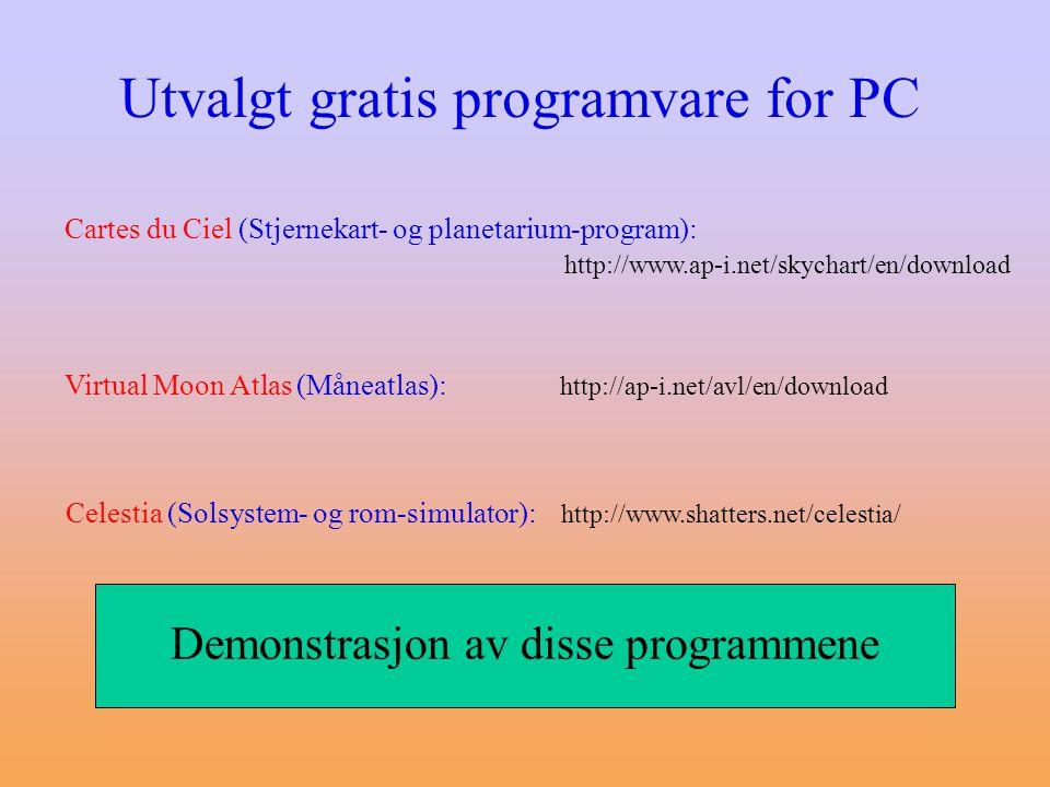 Utvalgt gratis programvare for PC Virtual Moon Atlas (Måneatlas): http://ap-i.net/avl/en/download Celestia (Solsystem- og rom-simulator): http://www.shatters.net/celestia/ Cartes du Ciel (Stjernekart- og planetarium-program): http://www.ap-i.net/skychart/en/download Demonstrasjon av disse programmene